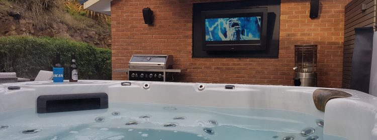 Enjoy your outdoor TV from the spa!