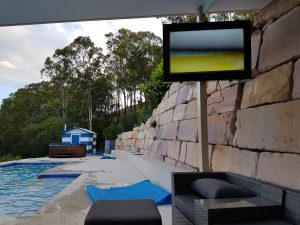 An outdoor TV can be mounted on a pol